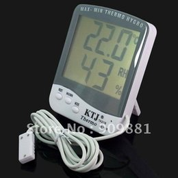 Wholesale Digital Temperature Humidity Thermometer - Digital Weather Station Electronic Temperature Humidity Meter LCD Indoor Outdoor Thermometer Hygrometer With 1.5M Cable Sensor