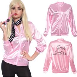 Wholesale Women Costume Cheerleader - Wholesale- 2017 New Halloween Pink Hoodies Lady Retro Jacket Womens Fancy Dress Grease Costume Cheerleader Women Pink Autumn Clothing