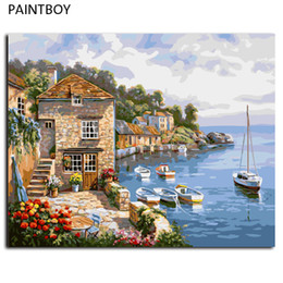 Wholesale Diy Oil Paint Numbers - Seascape Paint Wall DIY Painting By Numbers Digital Canvas Oil Painting Frameless Pictures Home Decor For Living Room G296