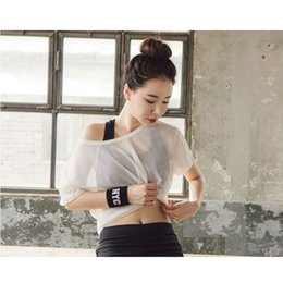 Wholesale See Through Mesh Shorts - 2018 Newest Women See Through Yoga Shirts Sports Running T-shirt Hollow Out Mesh Blouse Crop Tops Breathable Girls Fitness Tops