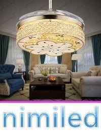 Versenkbare deckenleuchten online-nimi914 Invisible Wohnzimmer Retractable Kristalldeckenventilator Lights Restaurant Licht Schlafzimmer Moderne Luxus Kronleuchter Pendelleuchten