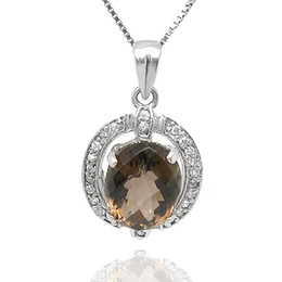 Wholesale Titanium Necklace Brown - Flammable Natural Brown Crystal Necklace Pendant volcano genuine female short clavicle 925 Silver Necklace Jewelry