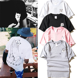 Wholesale Womens White Shirts Collar - Summer fashion T-Shirts Harajuku mens and womens round collar couples pocket middle finger cat small base wacky short sleeve T-shirt S-2XL