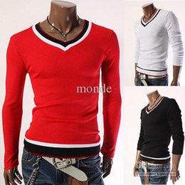 Wholesale Red Bumps - Free shipping In the hot Special spring new han edition men's clothing foreign trade screw-type bump color backing v-neck cultivate one's mo