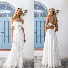 Wholesale Bohemian Formal Dress Lace - 2016 Charming Beach Wedding Dress Romantic Full Lace Two Pieces Boho Bohemian Bridal Gowns Floor Length Sexy Backless Bride Formal Wear
