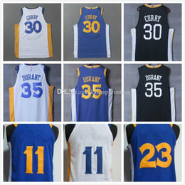 Wholesale Blue Curry - 2017 2018 new style #30 stephen curry #35 kevin durant #11 Klay Thompson #23 Draymond Green white blue black best quality fast shipping
