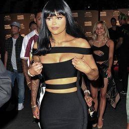 Wholesale Cross Cut Off - 2016 new hot freeshipping 2016 women off shoulder cut out white black bandage dress sexy women dress Khloe Kardashian dress dropshipping