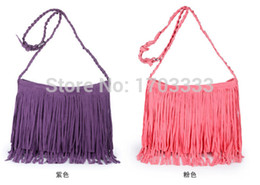 Wholesale Wholesale Suede Purses - wholesale 50PCS Suede Fringe Tassel Shoulder Bag women's fashion brown handbag purse tote bags Free Shipping