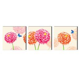 Wholesale Floral Definition - 3 Panel Large Modern Flower and Butterfly Canvas Painting Cuadros Wall Picture For Living Room High Definition Printing