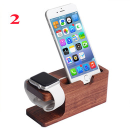 Wholesale Phone Charge Station - Bamboo Wood Charging Stand Bracket Docking Station Stock Cradle Holder for All Apple Watches iPhone 6 5 5S Smart Phones OTH305