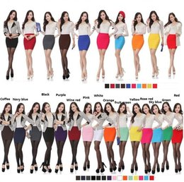 Wholesale White Satin Pencil Skirt - Womens Mini skirts new high waist short Skirts work formal A line Stretch club wear skrits pencil Casual Skirts for woman 2853