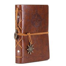 2019 титульный лист памятки Кожа записи журнала ноутбук 5 дюймов ретро спираль связаны ноутбук многоразового дневник блокнот для девочек и мальчиков темно-коричневый