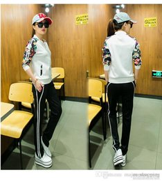Wholesale Black Pants Suit Ladies - New NK Official Brand fashion sportswear Women Sweat Suit flower Spring Autumn Girl Long Sleeve ladies Sports suit Leisure Outfits sizeM-2XL