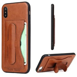 Wholesale Iphone Leather Case Car - Kickstand PU Leather Case With Card Slot Magnetic Suction Car Mount Case For Samsung S8 Plus Iphone 7 Plus With Retail Package