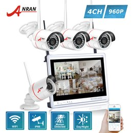 Wholesale Mini Bullet Camera System - ANRAN P2P 4CH WIFI 12 Inch LCD Monitor NVR 24 IR Mini Bullet Surveillance Security 960P Wireless IP Camera System HDD Optional