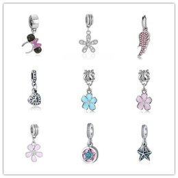 Wholesale Mixed Crystal Pendant 925 - Beads Fit Pandora Charms 925 Silver Plated Charms Beads with Crystal for Pandora Charm Pendant Jewelry MIX Style