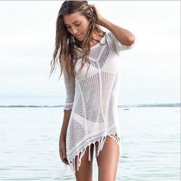 monokini kleider Rabatt 2016 neue gestrickte bluse frauen Sommer Quaste Strandkleid hohl Sexy lace up einteilige bademode monokini body maillot de bain