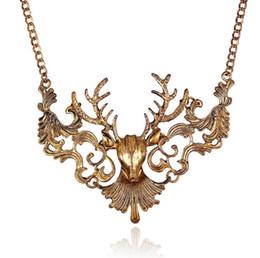 Wholesale Vintage Elk - Fashion Vintage Antique Gold Silver Elk Deer Choker Necklaces & Pendants Statement Jewelry Women Necklace Collier femme