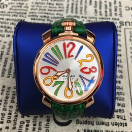 Wholesale Women Watches Big Dials - Fashion Women Watches Special Desing Famous Brand Big Dial 40mm Purple Green Genuine Leather Lady Dress watch Luxury Quartz Wholesale Price