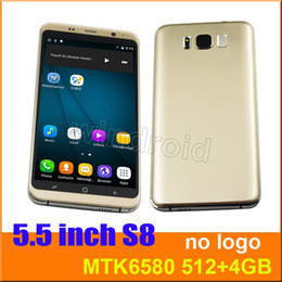 """Wholesale gsm cheap sim card phone - Cheap S8 5.5"""" Quad Core MTK6580 Android 6.0 Smart phone 512 4GB Dual camera 5MP SIM 540*960 3G WCDMA GSM Unlocked Mobile Gesture Free case"""