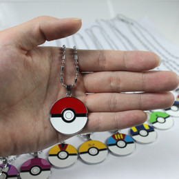 Wholesale Action Figure Anime Resin - 12 styles Poke Ball pendant necklaces poke mon models epoxy alloy Pocket Monsters pendants Action Figures Anime Christmas gift