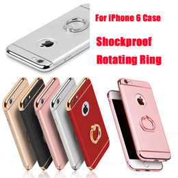 Wholesale Chrome Stands - For iPhone 7 7plus 6 6S Plus Shockproof 3 in 1 Rotating Ring Stand Armor Hard Back Case Chrome Cover For iphone6 DHL Free SCA151