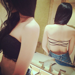 Wholesale Tube Top Padded Bra - Wholesale-Fashion Women Lace Strapless Tube Top Cross Sexy Bra Crop Tops Blusa De Renda Padded Seamless Tube Bra Bralette bandeau top Y3