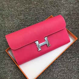 Wholesale Pink Cotton Sport Dress - Hot sale! brand women Buckle H epsom long Wallet, classic fashion male patchwork purse with coin pocket &card holder with gift box