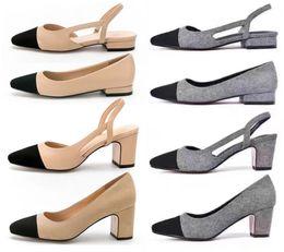 Wholesale Women Shoes Mules - Designer Calfskin Women Catwalk Kitten Heels Pumps Slingbacks Sandals Mules Flats Beige Grey Dress Wedding Single Shoes With Original Box