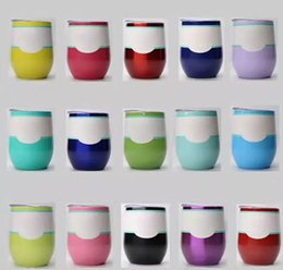 Wholesale Wholesale Travel Wine Glass - Hot Egg Cup Wine Glasses Stainless Steel Beer Stemless Cups 20 Colors 9oz Travel Double Walled Vacuum Insulated Water Mugs