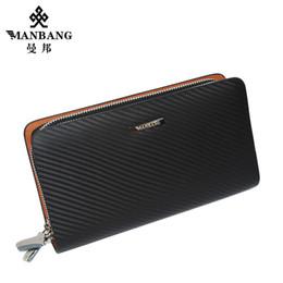 Wholesale Top Cowhide Leather Wallet - Wholesale- Top Cowhide Leather Men's Long wallet High quality cowhide luxury designer Big-capacity leather purse MBS8390