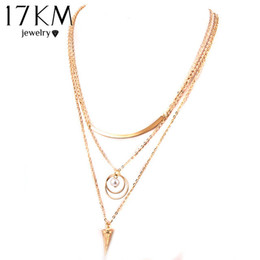 Wholesale Punk Multilayer Chain Necklace - Wholesale-17KM Punk Style Body Chain Necklaces Women simulated Pearl Jewelry Multilayer Chain Necklace 2016 Trendy Golden Color Jewelry