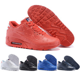 Wholesale Cheap Usa Flags - Fashion cheap men air cushion leather USA flag 90 vt running shoes america flag outdoor shoes for men athletic sports shoes