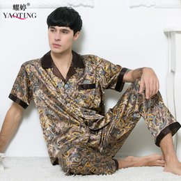 Wholesale Silk Onesies - Wholesale-Man Artificial Silk Pajamas 2016 Summer Short Sleeve Satin Sleepwear Man Plus Size Nightclothes Set Loose Paisley Pyjamas Male