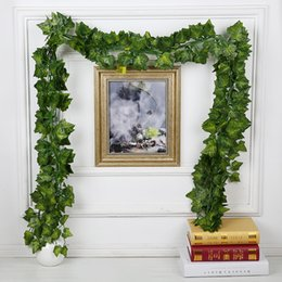 Wholesale Grape Leave - 1.8M 3 Style Artificial Plants Green Lvy Leaves Artificial Grape Vine Fake Leaves Home Wedding Decoration DIY Wreath Flower