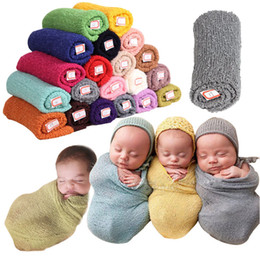 Wholesale newborn baby envelopes - PrettyBaby 20 colors baby sleeping bags newborn photography props infant stretchy 100%cotton hand made towel wraps free shipping