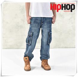 Wholesale Hot Cotton Brand Capris - Hot New Brand Men Pockets Baggy Jeans Big Size Mens Hip Hop Jeans Long Loose Fashion Skateboard Relaxed Fit Jeans Mens Harem Pants 42 44 46
