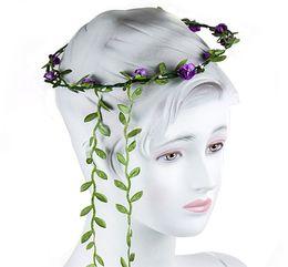 Wholesale Fresh Flower Bracelets - Headdress Flower Flower Girls Boho Festival Headband Wedding Garland Floral Hairband Party Beach Sweet Fresh Daisy Hair Band Bracelet