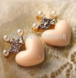 Wholesale Heart Peach Earring - Free Shipping Mellow Pink Crystal Crown Peach Heart Love Stud Earrings Pearl earrings