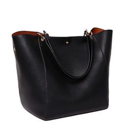 Wholesale Genuine Leather Hand Bags - Luxury Women Handbag Famous Brand Shoulder Bags Solid Designer Handbags High Quality Ladies Hand Bags Women Tote Big Female Bag BLB034