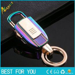 Wholesale Ignition Lighters - Jobon Key Chains USB Lighters Key Ring USB Cigarette Lighters Gift Key-chains USB Lighters Heating Wire Ignition