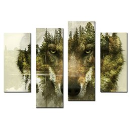 Wholesale Canvas Art Framed Tree Oil - 4 Pieces Canvas Paintings Wall Art Picture for Home Decor Wolf Pine Trees Forest Animal Print On Canvas with Wooden Framed