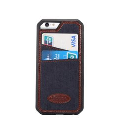 Wholesale Iron For Cloths - TPU Jean Cloth leather with iron sheet Classic Hot Cases Card Slot Cover For iphone6 4.7 5.5 plus Fundas Card Holder