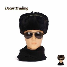 Wholesale Earflap Hat Adult - Wholesale-NEW 2015 Men Winter Warm Men Bomber Hats Caps Russian Trapper Aviator Trooper Earflap Hat Outdoor Sport Snow Ear Protection Cap