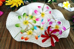 Wholesale Tiare Flower Wholesale - NEW FREE SHIPPING KL114 288PCS LOT 3.5 inch 8colors Foam Tiare Hair Pick HAWAII Tropical flower Beach Party Weeding Summer