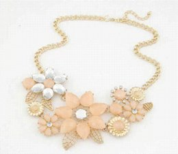 Wholesale Bright Horn - 2014 New Europe&America fashion Metal bright Bauhinia flower necklace women statement necklace 663 Cheap necklace emily
