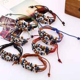 Armband leder ketten online-Evil Eye Armbänder Einstellbare Echtes Leder Multilayer Warp Armband Armreif Manschetten für Frauen Männer Modeschmuck Drop Shipping