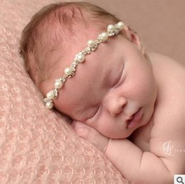Wholesale Europe Headbands - Pearl Baby Girl hair accessories Europe Style Fashion Beaded Sweet elastic headbands for girls Toddler Photography Accessory 6799