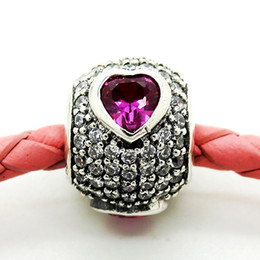 Wholesale Brand Fuse - 100% 925 Sterling Silver Bead Fit Pandora Fashion Jewelry Charm Brand 2016 Heart Pave silver Charm With Clear And Fancy Pink Cubic Zirconia