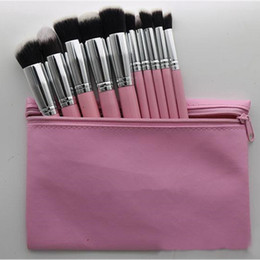 Wholesale Bb Professionals - Hot Makeup Professional Brush set Cosmetic Foundation BB Cream Powder Blush 10 pieces Makeup Tools Black White Pink with Pouch DH 24setsL